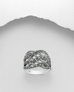 Intertwined Marcasite Sterling Silver Ring - Girl Smiles