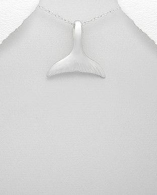 Sterling Silver Whale Tail Necklace - Girl Smiles