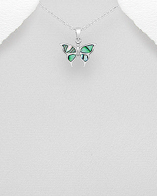Abalone Shell Sterling Silver Butterfly Necklace - Girl Smiles