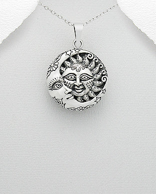 Sterling Silver Moon and Sun Necklace - Girl Smiles