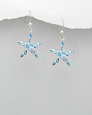 Light Blue Mother of Pearl Starfish Sterling Silver Hook Earrings - Girl Smiles
