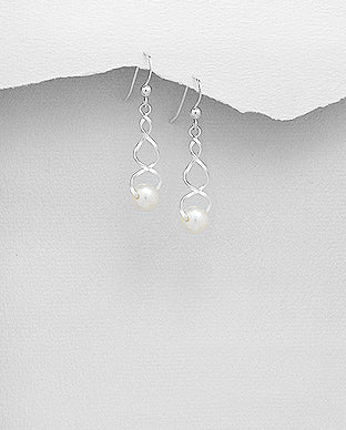Fresh Water Pearls Sterling Silver Swirl Dangle Hook Earrings - Girl Smiles