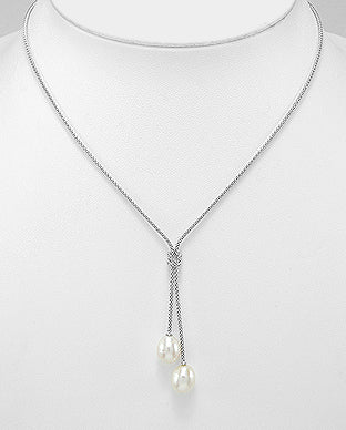 Fresh Water Pearls Sterling Silver Love Knot Necklace - Girl Smiles
