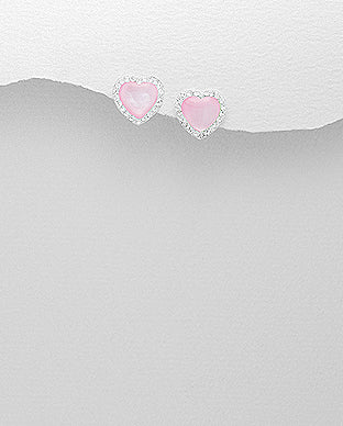 Pink Heart Shell Crystal Glass Post Push-Back Sterling Silver Earrings - Girl Smiles