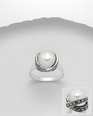 Fresh Water Pearl Wrapped in Marcasite Sterling Silver Ring - Girl Smiles