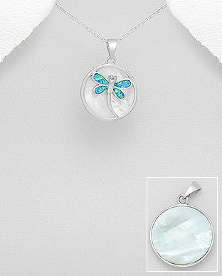 Opal and Mother of Pearl Dragonfly Necklace - Girl Smiles