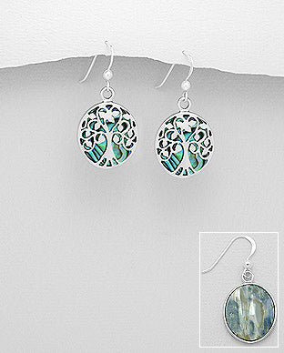 Abalone Shell Tree Of Life Sterling Silver Hook Earrings - Girl Smiles