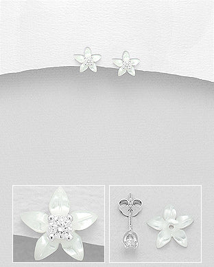 Star Jasmine Flower Mother of Pearl Shell and Cubic Zirconia Push-Back Sterling Silver Earrings - Girl Smiles