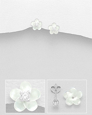 Plumeria Mother of Pearl Shell and Cubic Zirconia Push-Back Sterling Silver Earrings - Girl Smiles