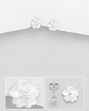 Sakura Cherry Blossom Mother of Pearl Shell and Cubic Zirconia Push-Back Sterling Silver Earrings - Girl Smiles