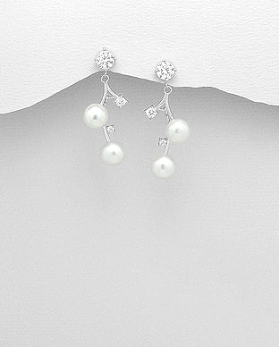 Fresh Water Pearl and Cubic Zirconia Sterling Silver Drop Down Push-Back Earrings - Girl Smiles