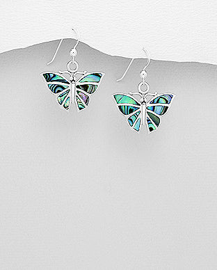Abalone Shell Butterfly Sterling Silver Hook Earrings - Girl Smiles