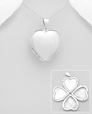 Sterling Silver Heart Locket Necklace - Girl Smiles