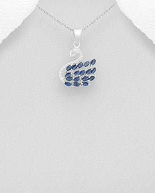 Blue Cubic Zirconia Swan Sterling Silver Necklace - Girl Smiles