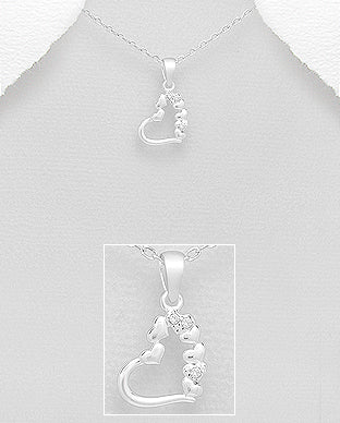 Cubic Zirconia Dangling Heart Sterling Silver Necklace - Girl Smiles