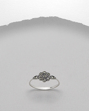 Marcasite Flower Delicate Sterling Silver Ring - Girl Smiles