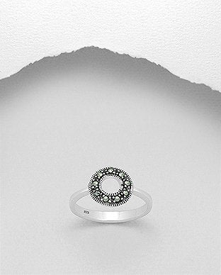 Marcasite Circle Sterling Silver Ring - Girl Smiles