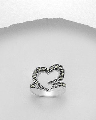 Marcasite Open Heart Sterling Silver Ring - Girl Smiles