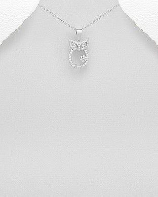 Cubic Zirconia Sterling Silver Owl Necklace - Girl Smiles