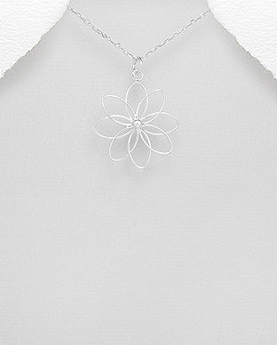 Sterling Silver Flower Necklace - Girl Smiles
