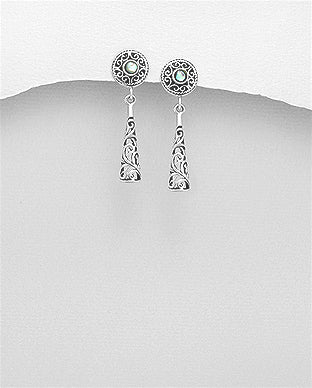 Filigree Dangle Mother of Pearl Center Push-Back Sterling Silver Earrings - Girl Smiles