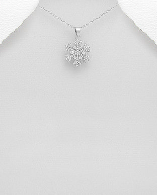 Cubic Zirconia Snowflake Sterling Silver Necklace - Girl Smiles