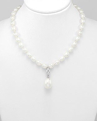 Fresh Water Pearl and Cubic Zirconia Sterling Silver Necklace - Girl Smiles