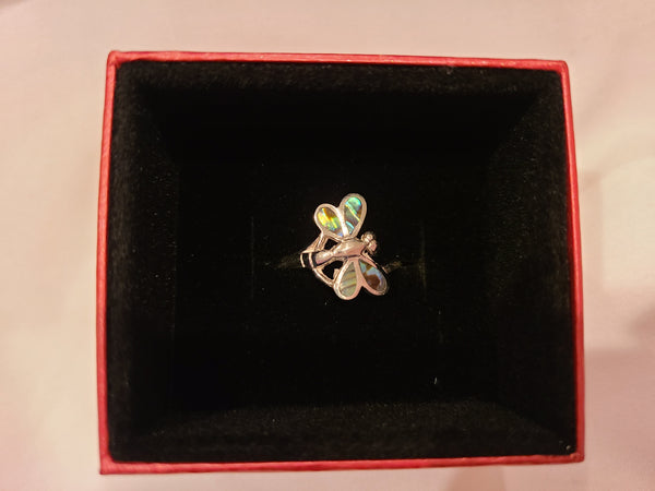 Abalone Shell Dragonfly Sterling Silver Ring