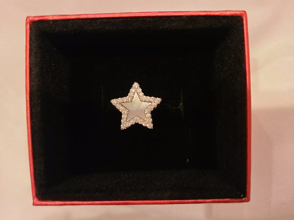 Mother of Pearl Cubic Zirconia Star Sterling Silver Ring