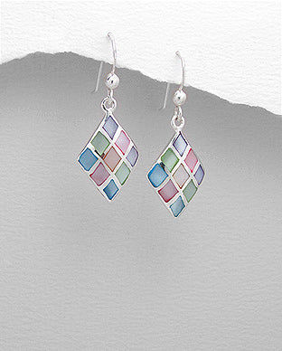Diamond Drop Multicolor Shell Inlay Sterling Silver Hook Earrings - Girl Smiles