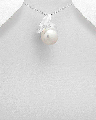 Fresh Water Pearl with Sterling Silver Leaves Necklace - Girl Smiles