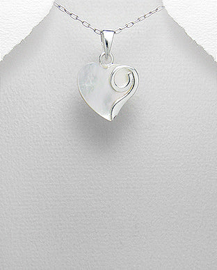 Mother of Pearl with Sterling Silver Swirls Necklace - Girl Smiles