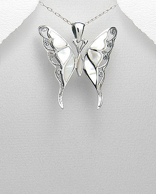 Mother of Pearl Butterfly Sterling Silver Necklace - Girl Smiles