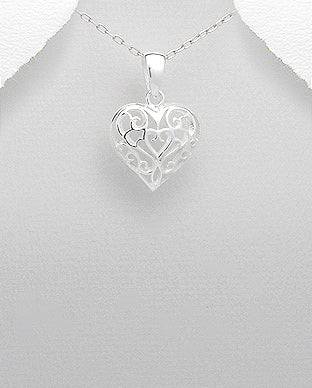 Sterling Silver Filigree Heart Necklace - Girl Smiles