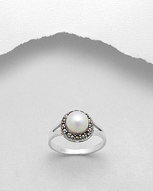 Fresh Water Pearl Marcasite Sterling Silver Ring - Girl Smiles