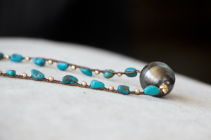 Turquoise single pearl necklace