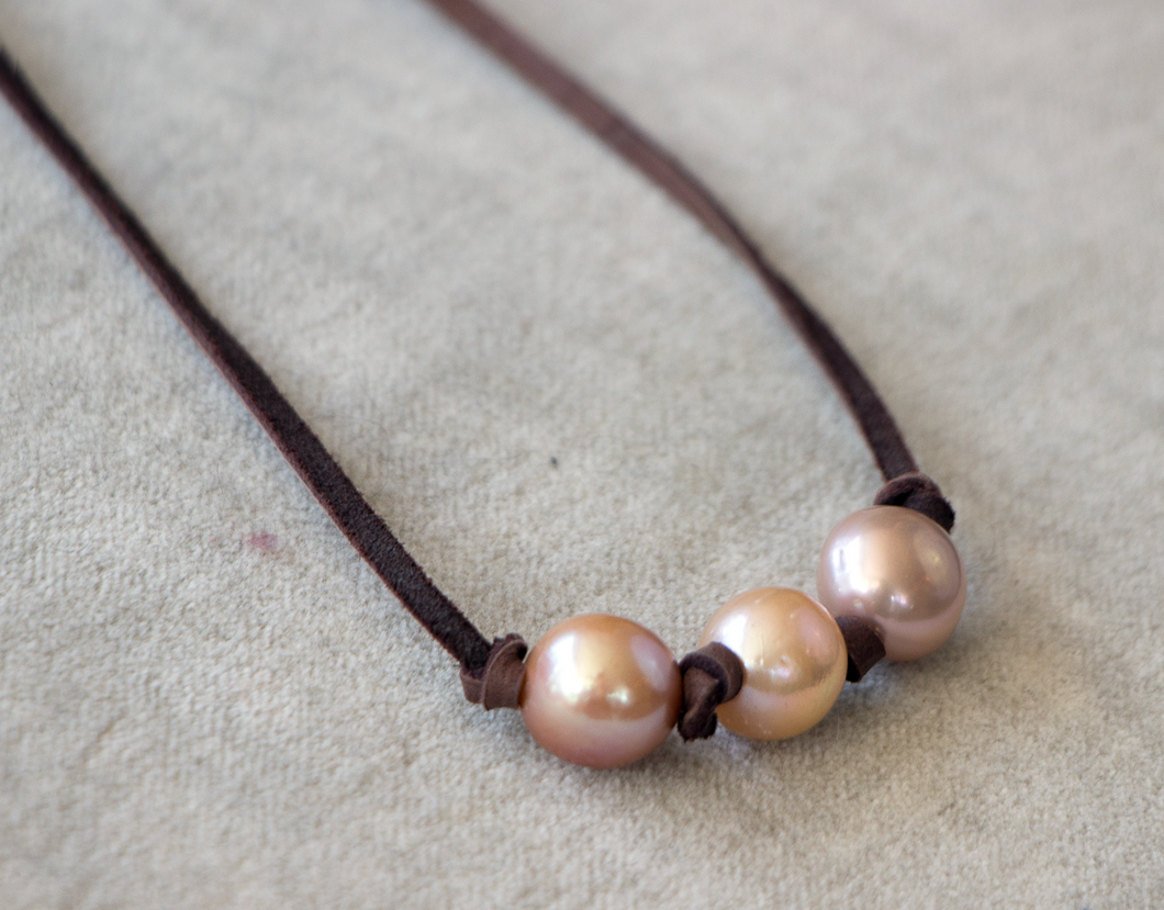 Judy Godec 3 Pearl Leather Necklace