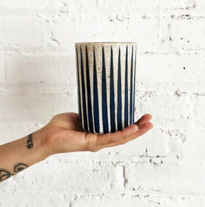 MQuan Candle: Indigo Stripes