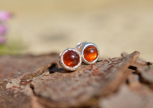Amber and Sterling Silver Stud Earrings
