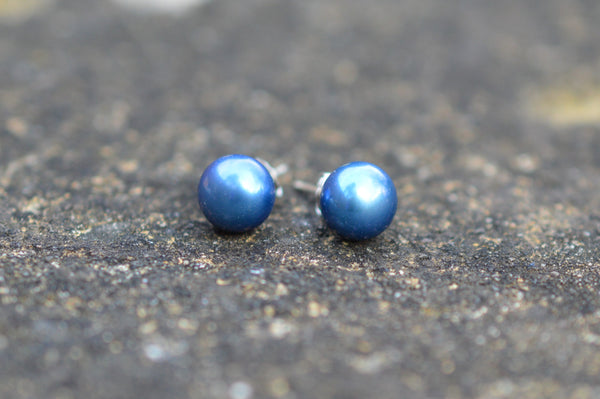 7-8 mm AAA Blue Fresh Water Pearl Stud Earrings on Sterling Silver