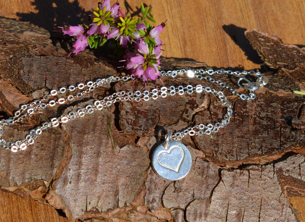 Heart Pendant Necklace made from Fine Silver & 925 Silver Chain
