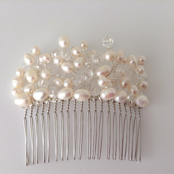 Freshwater Pearl and Crystals hair comb