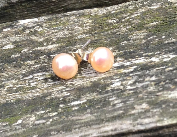 Small Freshwater Pearl Stud Earrings on 925 Sterling Silver, Natural 5.5 gemstone, Classic Look, Bridal jewelry, elegant look, office studs