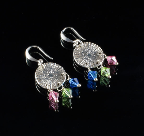 The Zing, pure silver round earrings with Swarovski crystals, textured long dangle silver, geometric sparkles earrings