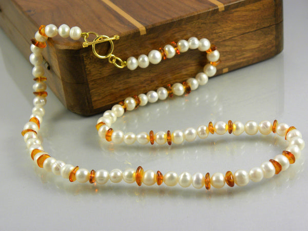 Cognac Baltic Amber and Freshwater Pearl Necklace with Gold Plated Sterling Silver toggle clasp, elegant natural gemstones, nickel free