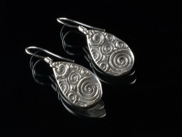 Pure silver and sterling silver drop shape earrings, with wave design, dangle earrings, textured silver