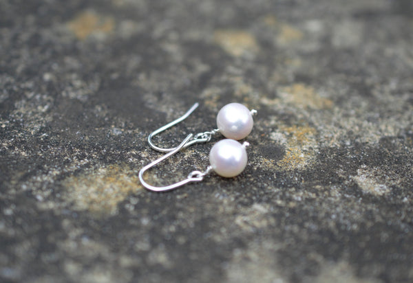 Natural White Freshwater Pearl Drop Earrings on 925 Sterling Silver, High Quality Dangle Pearls, Bridal Jewelry, wedding earrings