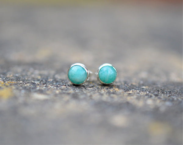 Amazonite and Sterling Silver Stud Earrings, Small Minimalistic Look, Natural Green Gemstones on 925 Silver, handmade stacking jewellery