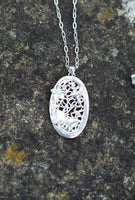 Butterflies & Flower Oval Pendant Necklace, Handmade Eco Friendly Silver on Sterling Silver Chain, Hallmarked Nature Inspired Pure Silver