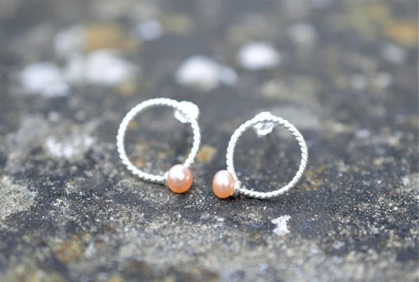 Button pearl and silver studs, post earrings, handmade with sterling silver, elegant 925 silver earrings, modern minimalistic earrings